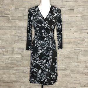 Banana Republic black floral wrap dress, NWT